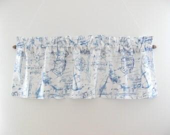 Valance With Ships, Blue Kitchen Valance, Kitchen Curtain, Curtain Panel,  Kitchen Decor