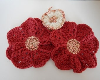 Dish/Wash Cloths - Set of 3 - Country Brown! - 100% Cotton - Hand Crocheted - Flowers - Kitchen Gear - Bathroom - Camping - Dishcloth
