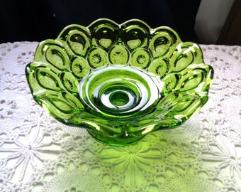"""L.E Smith Antique Green - Glass Moon And Stars - Candlestick Holder Bowl 4"""" Tall x 7.5"""" Wide Across The Top - Free Shipping"""