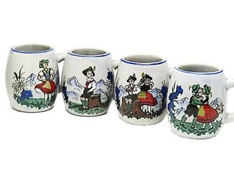 Vintage Miniature Steins Shot Glasses | Made in West Germany | Bavaria Souvenir |  Holland Souvenir |  Switzerland Souvenir Shot Glass