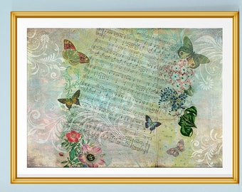 Butterfly Print, Botanical Art, Butterfly Art, Song Sheet, Butterflies, Vintage Art, Gift for Her, Pretty Prints, Music Gift, Pastel Print