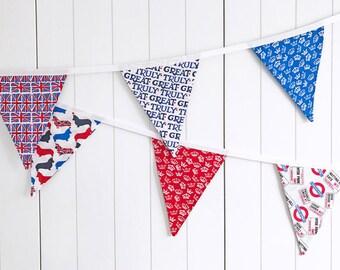 British Bunting - London Banner - Royal Bunting - Garden Party Flags - Great Britain Decor - Union Jack Banner Bunting - British Garland