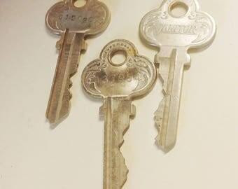 Lot of 3 Antique Ornate Numbered Keys