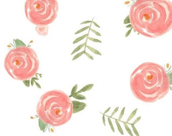 Breathable crib bumper. Soft Floral watercolor flowers roses pink blush coral peonies. Breathable jersey fabric wrap around crib bumper