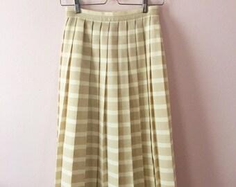 1980s 80s Pleated Midi Skirt | Womens Pleated Skirt | XS S