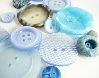 Blue button lot with 16 assorted vintage buttons, unused sewing supplies!