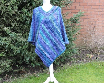 Crochet Poncho in Blue , with Green and Purple