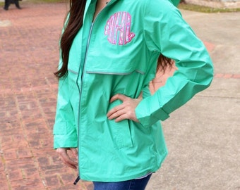 Monogram Rain Jacket Preppy Charles River New Englander Rain Jacket with Scalloped Lilly Pulitzer Monogram Wind Jacket