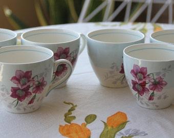 Gorgeous Vintage 1950s Myott and Sons Handpainted Teacups (6)