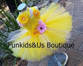My Sunshine Tutu Dress- You Are My Miss Sunshine - Sunshine Dress in yellow and pink - Shade of yellow tutu