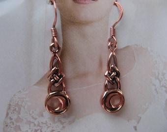 Solid Copper Celtic Knot Earrings #CTE1125
