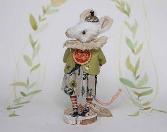 Primitive Folk Art OOAK mouse art doll spun cotton figurine