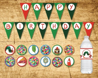 Very Hungry Caterpillar Birthday Decorations  |  Banner, Cupcake Toppers & Water Bottle Labels |  Printable PDF