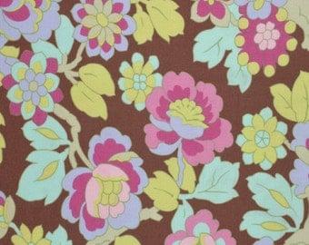 Half Yard - Cutting Garden in Mocha, Gypsy Caravan, Amy Butler Fabric, quilting cotton, brown, Aqua, Green, Lavendar, Pink, Magenta,