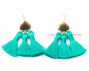 Turquoise Tassel Earrings | Blue Thread Tassel Earrings | Multi Tassel Earrings | Tassel Fan Earrings | Turquoise Statement Earrings