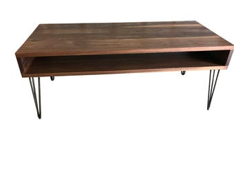 Walnut mid century modern coffee table, Coffee Table for Living Room, Table in Custom Size, Free Shipping