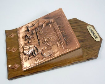 """Beautiful wooden french postal recipient with keys holder. Rectangular wood-metal box """"Courrier"""". Beautiful home decoration"""