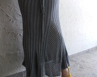 Steel gray hand knit long skirt... feminine skirt, elegant, casual, for all season, romantic feel, Can be purchased as a TWO - PIECE SUIT
