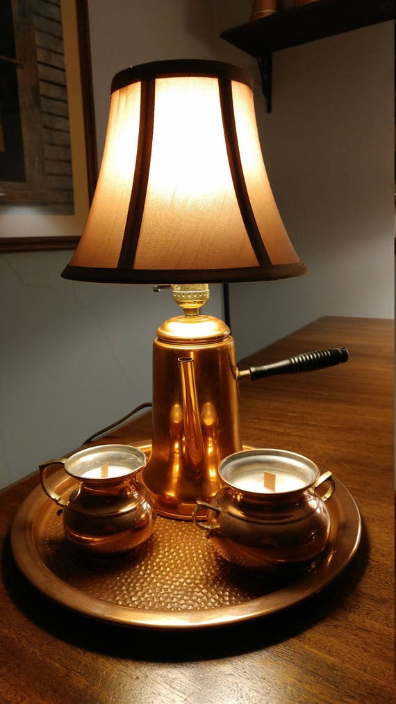 Copper Teapot lamp and candles
