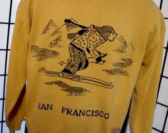 Elk Casuals men's San Francisco Skiing cotton crew neck sweater large l