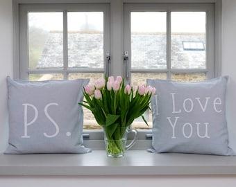 Throw Pillow Cover Set, Farmhouse Decor, Cushion Cover, Linen Pillow Cover, Slogan Throw Pillow. PS + I love you