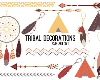 Tribal Clip Art Border Dreamcatcher Tent Feather Arrow in Earthtone Aztec Clipart Commercial Use Graphics Digital Images Royalty Free PNG