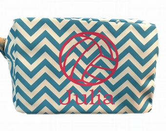 Volleyball monogrammed cosmetic bag, volleyball team gift, personalized volleyball favors