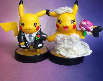 Pikachu Custom Amiibo Wedding Cake Toppers