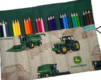 Easter Gift for Boy, Tractor Gift, 24 Colored Pencil Roll up Case, Pencil Roll, Pencil Case