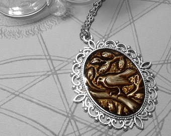 Brown Bird and Leaves : hand embossed repoussé metal pendant necklace