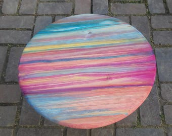 "Custom Lazy Susan, Hand Painted Wood Lazy Susan - 18"" Diameter"