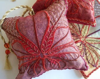 Embroidered  Lavender bag, CHESTNUT LEAF, Red, Autumn inspired leaves, perfect gift for Host, Birthday, Christmas, Thanksgiving