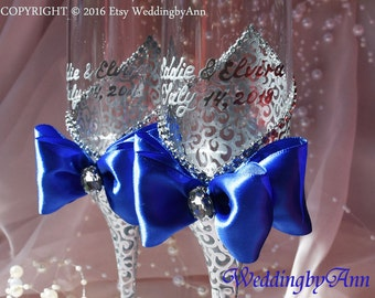 Royal Blue Wedding Glasses, Wedding Champagne Flutes, Bride And Groom, Personalized Toasting Flutes, Winter Wedding, Bridal shower gift