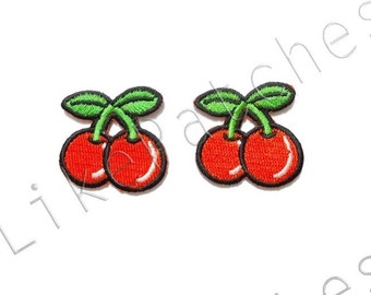 Set 2pcs. Little Couple - Orange Color - Cherry - Cute Patches - Fruit New Sew / Iron On Patch Embroidered Applique Size 3.3cm.x3.2cm.