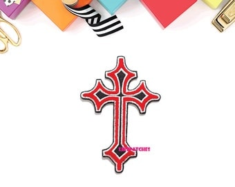 Cross Christ Sign New Sew / Iron On Patch Embroidered Applique Size 7cm.x10cm.