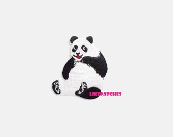 Panda - Animal Print New Sew on / Iron On Patch Embroidered Applique Size 5.9cm.x6.9cm.