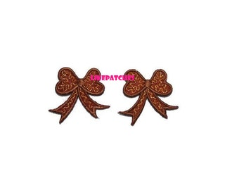 Set 2 pcs. Little Bow Ribbon Brown Color New Sew / Iron On Patch Embroidered Applique Size 3.6cm.x3.4cm.