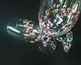 Hand Painted Wine Glasses, Cherry Blossom wine glass, painted wine glasses, decorative wine glasses, wedding wine glasses