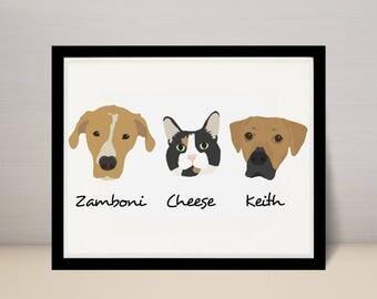 "11"" X 14"" Custom Pet Portrait Illustration, Dog Portrait, 3 dogs on 11x14 print"