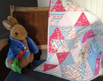 SOLD ** SOLD ** Handmade Patchwork Crib / Pram / Car Seat Baby Girl Quilt