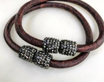 Brown Leather Magnetic Bracelets