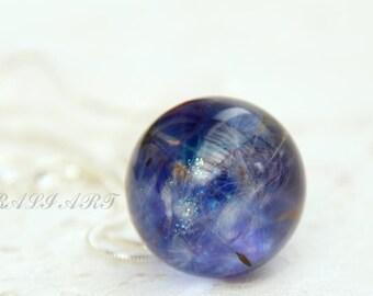 orb Тerrarium necklace Dandelion necklace Terrarium jewelry Pendant blue resin dandelion Pendant dandelion Ball resin pendant Crystal ball