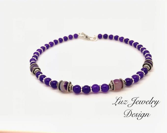 Lilac choker beaded lilac choker purple bead choker purple choker collar choker purple urban chic choker deep purple choker bead choker