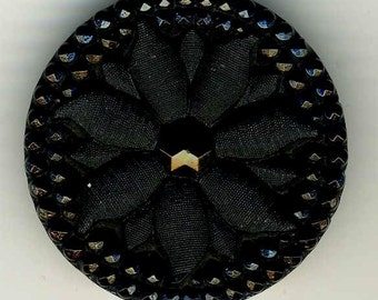 Antique Button, Black Glass Sunflower, Large