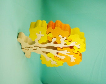 Wooden puzzle, puzzles, autumn tree, yellow tree,wood puzzle constructor, natural toy, Teether, Wooden eco friendly handmade toys