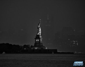 "Statue Of Liberty New York City Photograph, Black & White Photography, NYC, Wall Art, Art Print, Landmark, ""Alone In The Harbor"""
