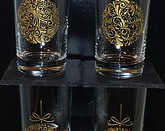 Holiday Christmas Ornament Etched Coolers with Gold Inlay