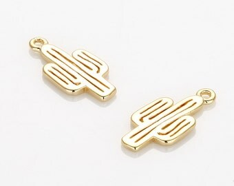 Cactus Pendant Polished Gold -Plated - 2 Pieces [P0609-PG]
