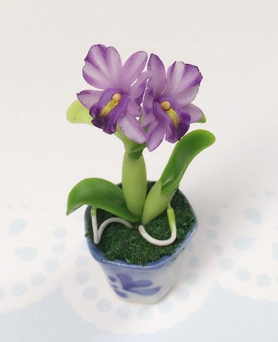 Miniature Flower,Miniature Flower Pot,Miniature Orchid,Dollhouse Flower,Miniature Garden,Dollhouse Orchid,Orchid Flower