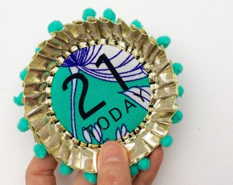 21 TODAY rosette. Happy Birthday gift. Handmade rosette pin badge, the perfect alternative to a birthday card. turquoise 21st Birthday badge